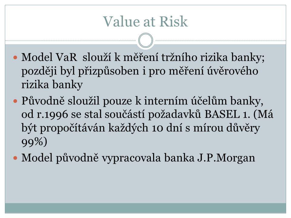 Value at Risk Model VaR slouží k měření tržního rizika banky; později byl přizpůsoben i pro měření úvěrového rizika banky Původně sloužil pouze k interním účelům banky, od r.1996 se stal součástí požadavků BASEL 1.