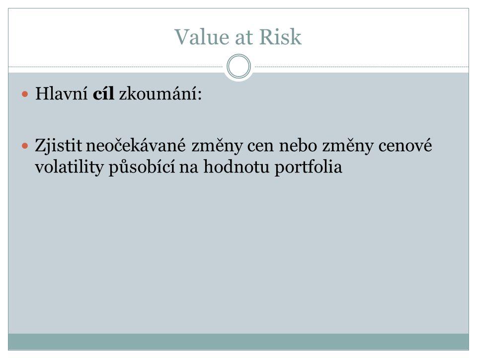 Value at Risk Hlavní cíl zkoumání: Zjistit neočekávané změny cen nebo změny cenové volatility působící na hodnotu portfolia