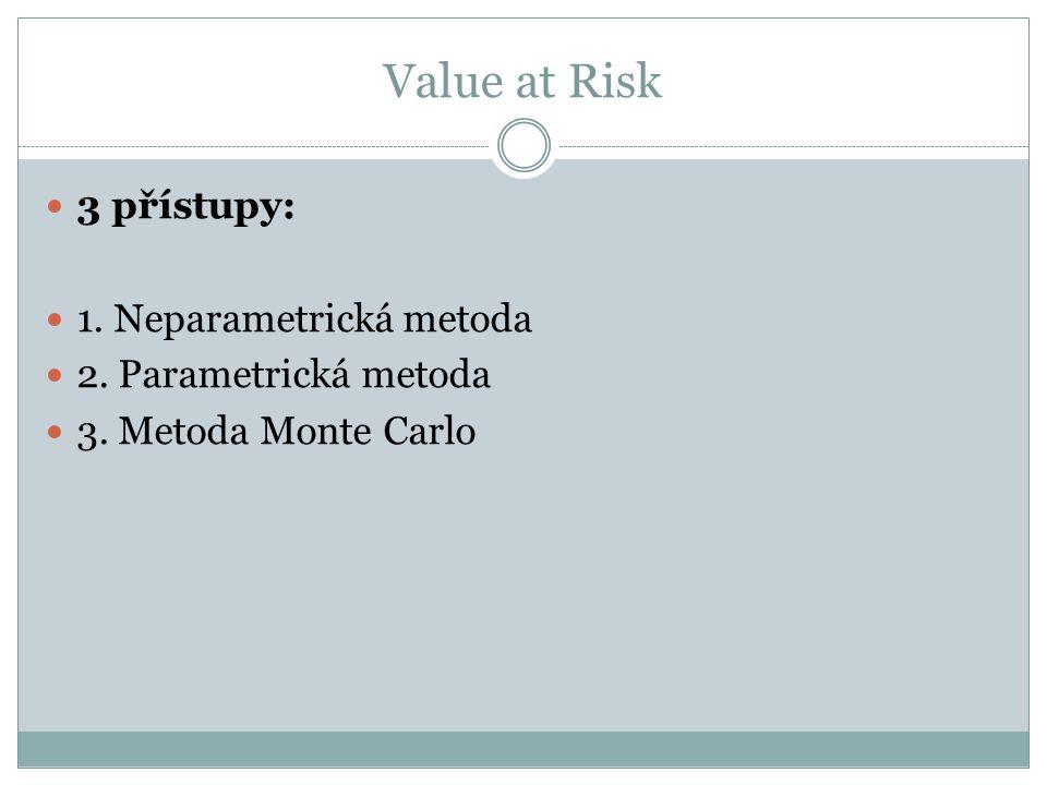 Value at Risk 3 přístupy: 1. Neparametrická metoda 2. Parametrická metoda 3. Metoda Monte Carlo