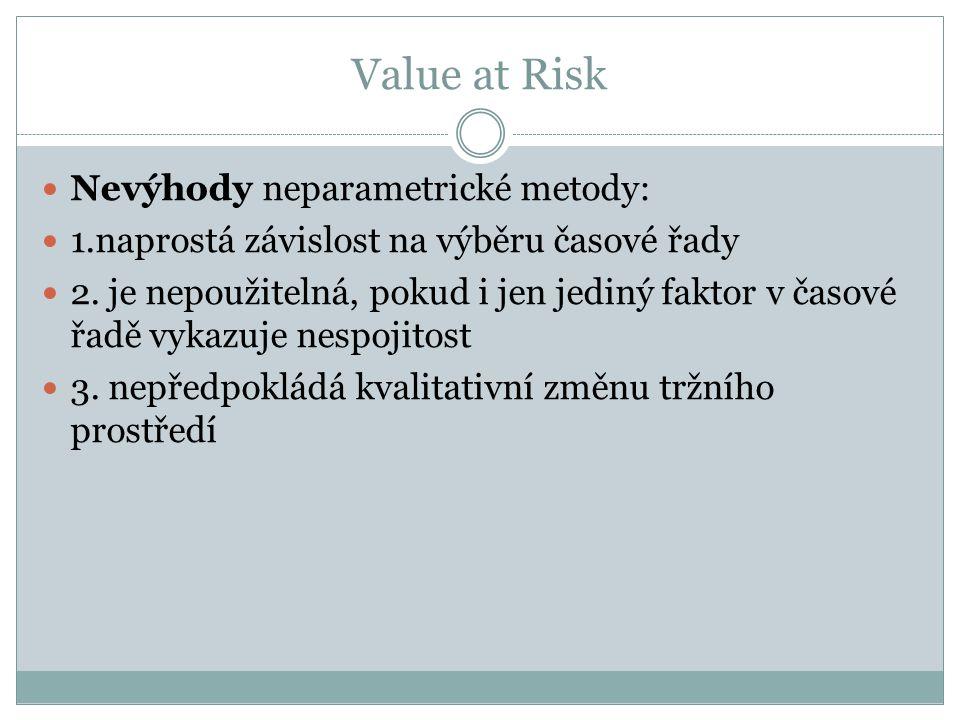 Value at Risk Nevýhody neparametrické metody: 1.naprostá závislost na výběru časové řady 2. je nepoužitelná, pokud i jen jediný faktor v časové řadě v