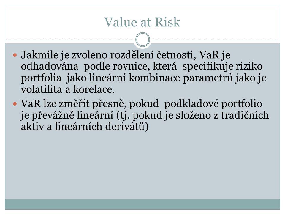 Value at Risk Jakmile je zvoleno rozdělení četnosti, VaR je odhadována podle rovnice, která specifikuje riziko portfolia jako lineární kombinace parametrů jako je volatilita a korelace.