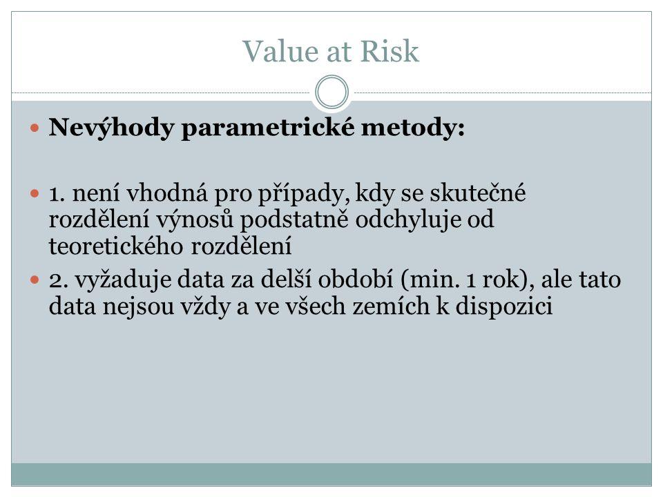 Value at Risk Nevýhody parametrické metody: 1.