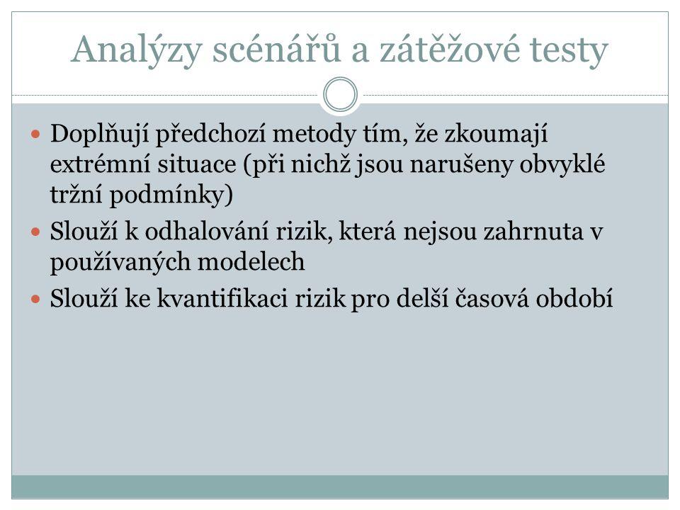 Analýzy scénářů a zátěžové testy Doplňují předchozí metody tím, že zkoumají extrémní situace (při nichž jsou narušeny obvyklé tržní podmínky) Slouží k