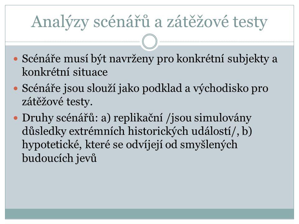 Analýzy scénářů a zátěžové testy Scénáře musí být navrženy pro konkrétní subjekty a konkrétní situace Scénáře jsou slouží jako podklad a východisko pro zátěžové testy.