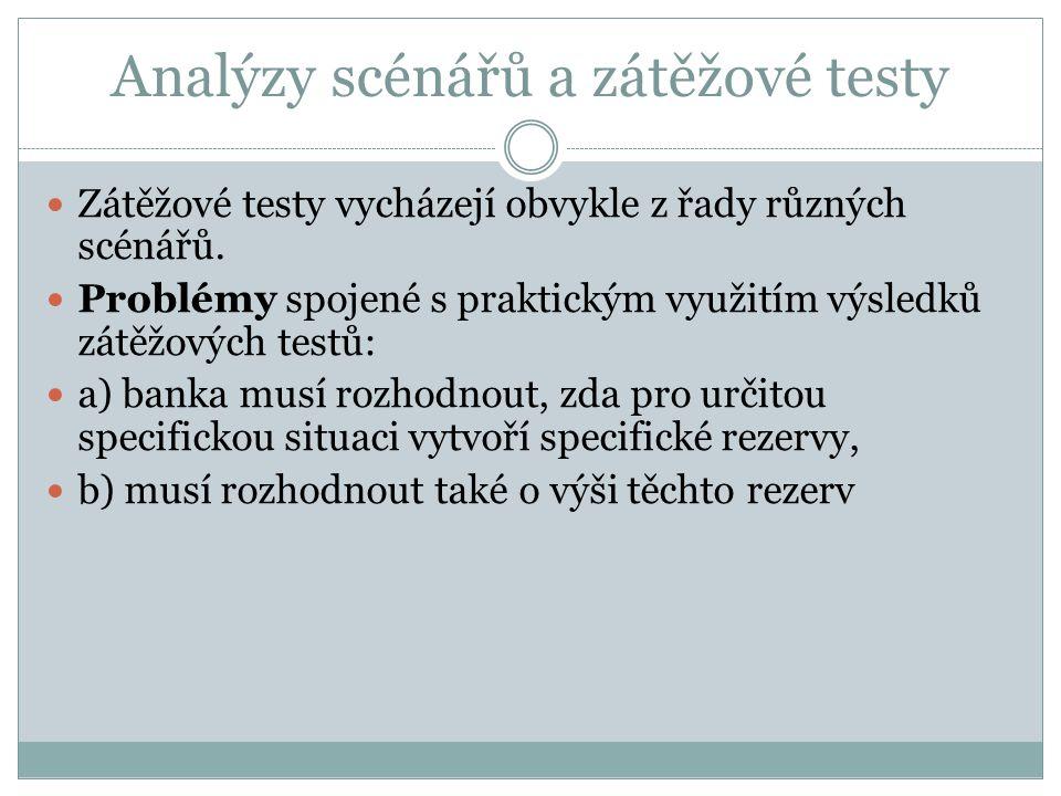 Analýzy scénářů a zátěžové testy Zátěžové testy vycházejí obvykle z řady různých scénářů. Problémy spojené s praktickým využitím výsledků zátěžových t