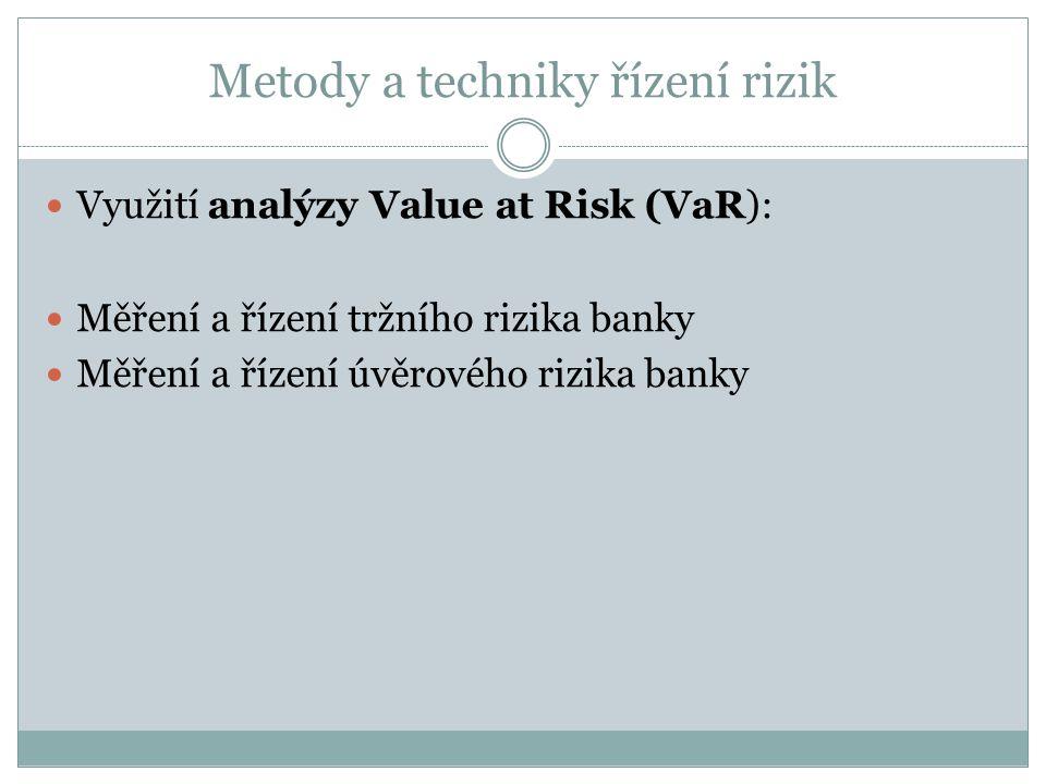 Metody a techniky řízení rizik Využití analýzy Value at Risk (VaR): Měření a řízení tržního rizika banky Měření a řízení úvěrového rizika banky