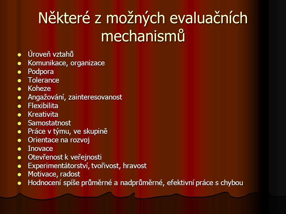 Některé z možných evaluačních mechanismů Úroveň vztahů Úroveň vztahů Komunikace, organizace Komunikace, organizace Podpora Podpora Tolerance Tolerance