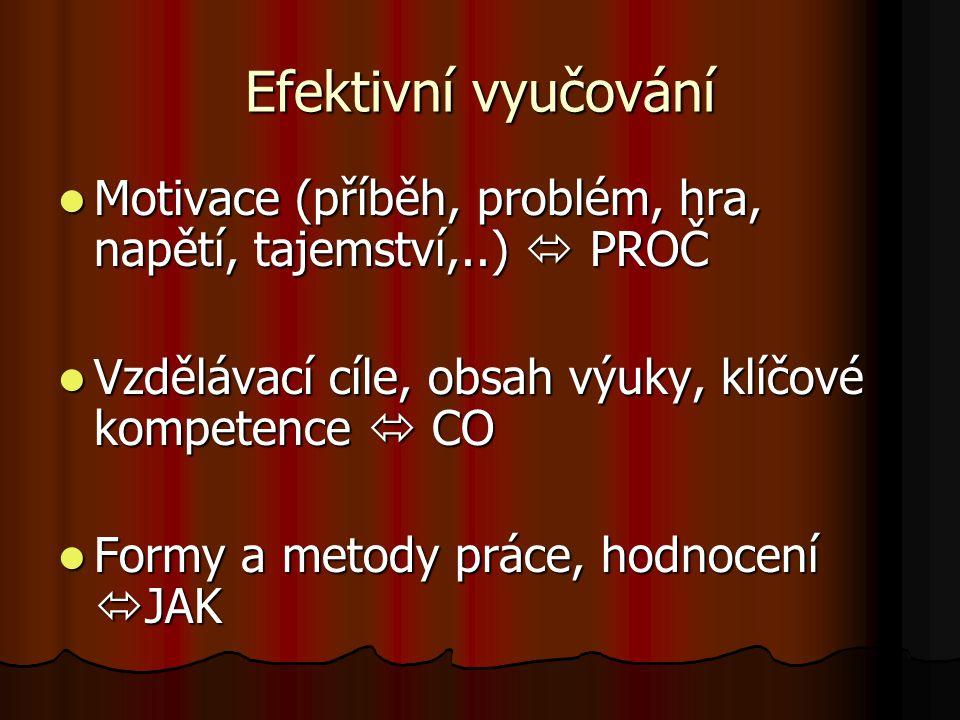 Motivace (příběh, problém, hra, napětí, tajemství,..)  PROČ Motivace (příběh, problém, hra, napětí, tajemství,..)  PROČ Vzdělávací cíle, obsah výuky
