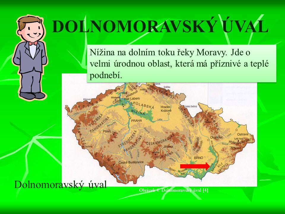 DOLNOMORAVSKÝ ÚVAL Nížina na dolním toku řeky Moravy. Jde o velmi úrodnou oblast, která má příznivé a teplé podnebí. Dolnomoravský úval Obrázek 4: Dol
