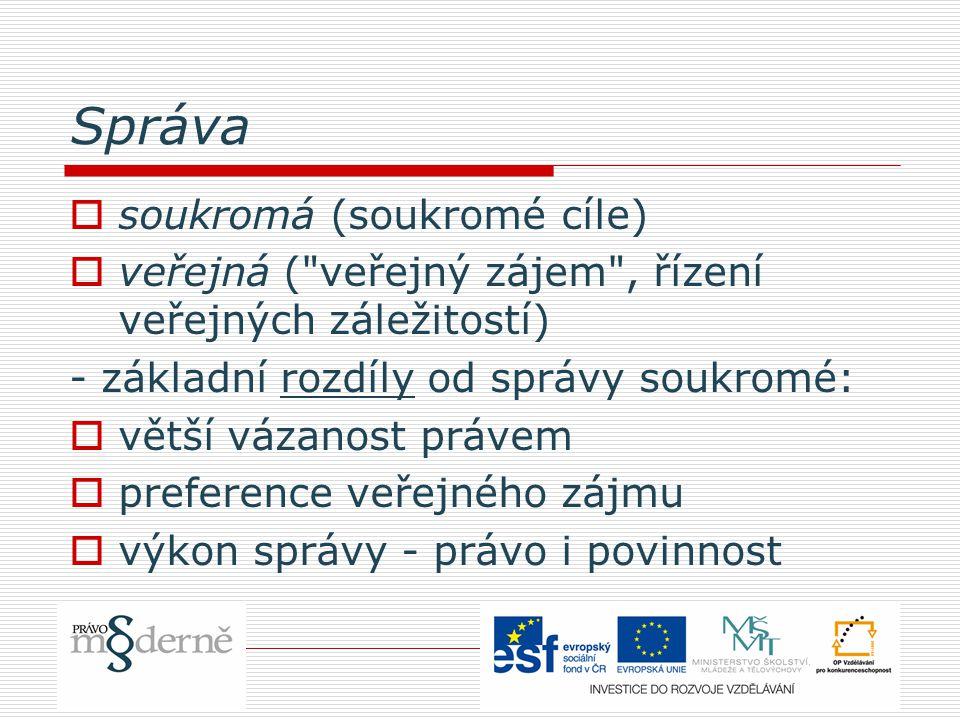 Správa  soukromá (soukromé cíle)  veřejná (