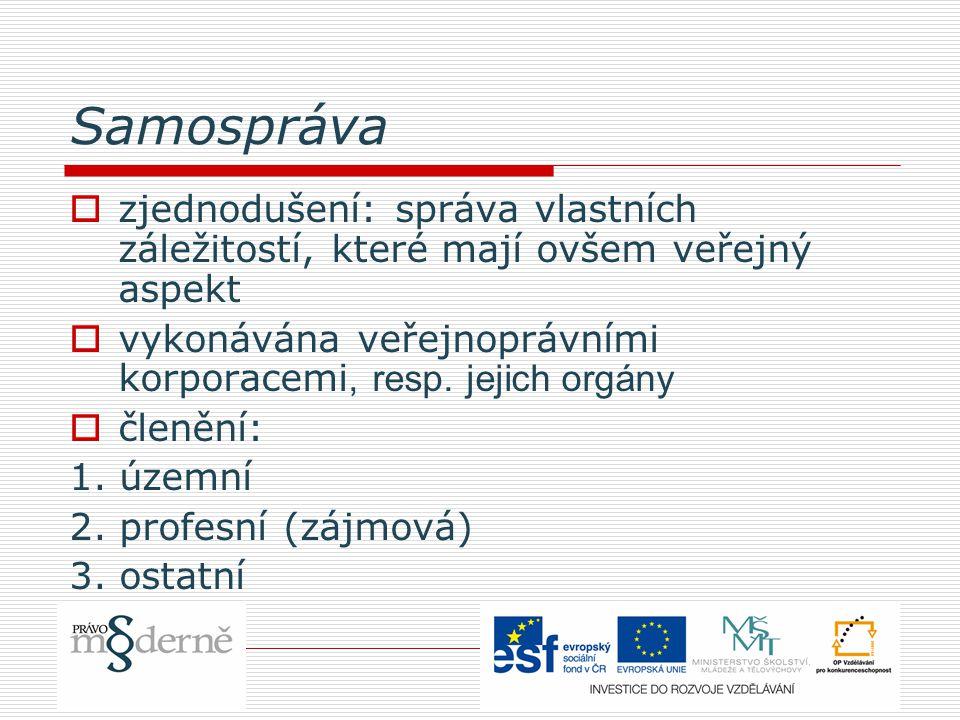 Samospráva  zjednodušení: správa vlastních záležitostí, které mají ovšem veřejný aspekt  vykonávána veřejnoprávními korporacemi, resp. jejich orgány