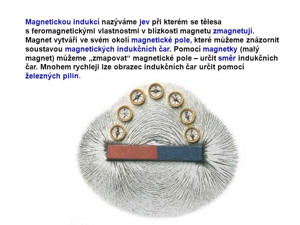 Magnetickou indukcí nazýváme jev při kterém se tělesa s feromagnetickými vlastnostmi v blízkosti magnetu zmagnetují.