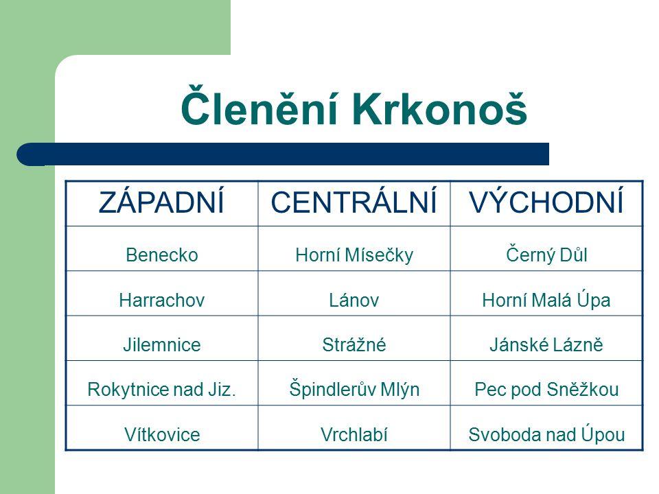 Krkonoše Krkonoše jsou nejznámějším pohořím v České republice - hora Sněžka je nejvyšším bodem země. Krásná příroda a turistické služby na vysoké úrov