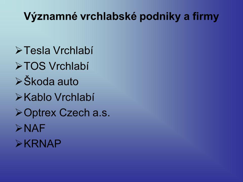 Významné vrchlabské podniky a firmy  Tesla Vrchlabí  TOS Vrchlabí  Škoda auto  Kablo Vrchlabí  Optrex Czech a.s.  NAF  KRNAP