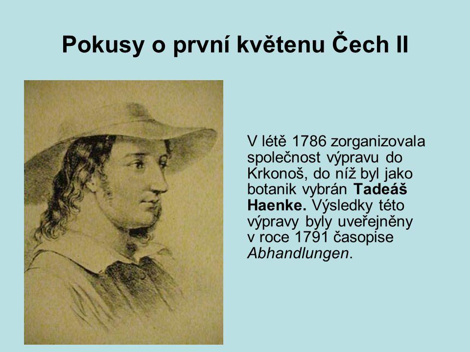 Pokusy o první květenu Čech III V roce 1793 vydal Franz W.