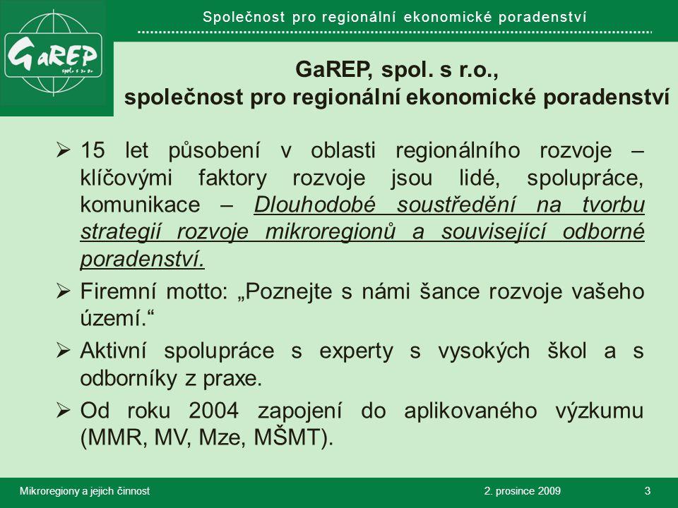Společnost pro regionální ekonomické poradenství GaREP, spol.
