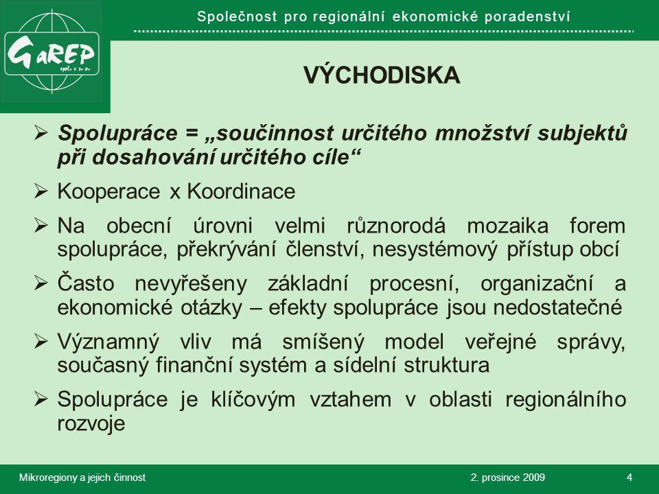 """Společnost pro regionální ekonomické poradenství VÝCHODISKA  Spolupráce = """"součinnost určitého množství subjektů při dosahování určitého cíle  Kooperace x Koordinace  Na obecní úrovni velmi různorodá mozaika forem spolupráce, překrývání členství, nesystémový přístup obcí  Často nevyřešeny základní procesní, organizační a ekonomické otázky – efekty spolupráce jsou nedostatečné  Významný vliv má smíšený model veřejné správy, současný finanční systém a sídelní struktura  Spolupráce je klíčovým vztahem v oblasti regionálního rozvoje 2."""