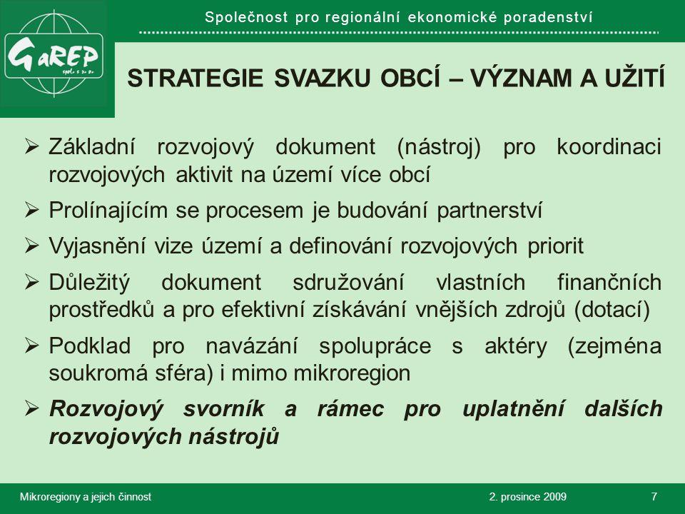 Společnost pro regionální ekonomické poradenství FORMULACE ROZVOJOVÝCH ZÁMĚRŮ - Region Jizerské hory 2.