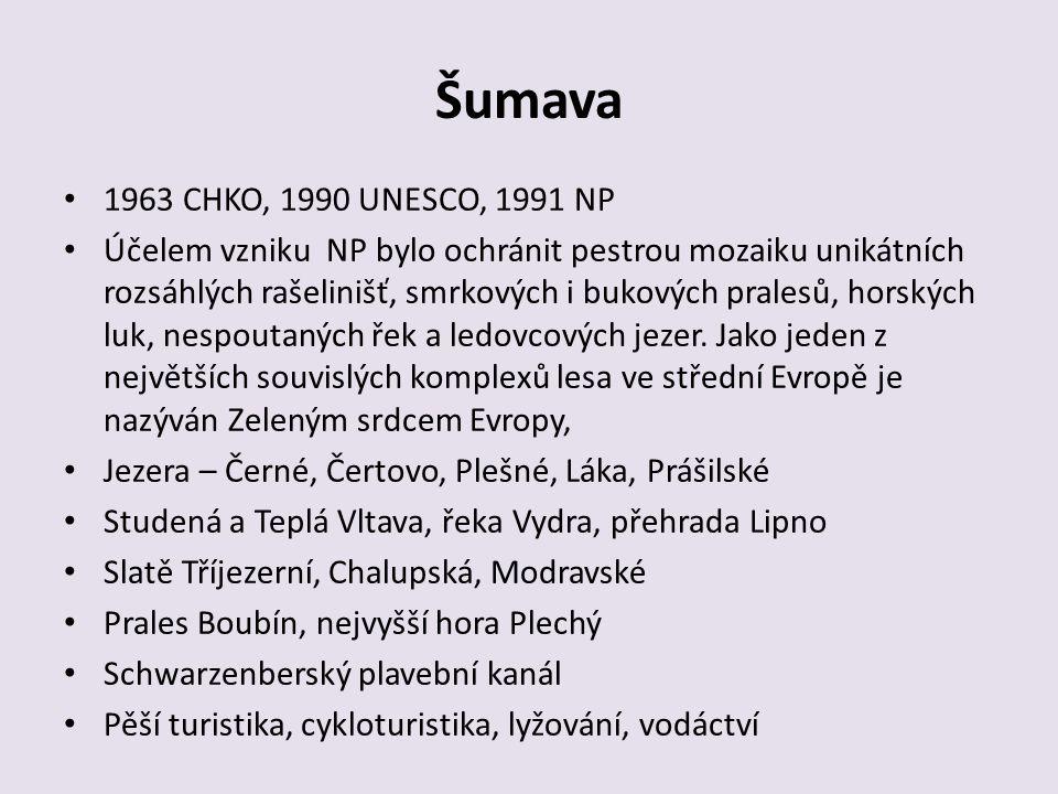 Šumava 1963 CHKO, 1990 UNESCO, 1991 NP Účelem vzniku NP bylo ochránit pestrou mozaiku unikátních rozsáhlých rašelinišť, smrkových i bukových pralesů,