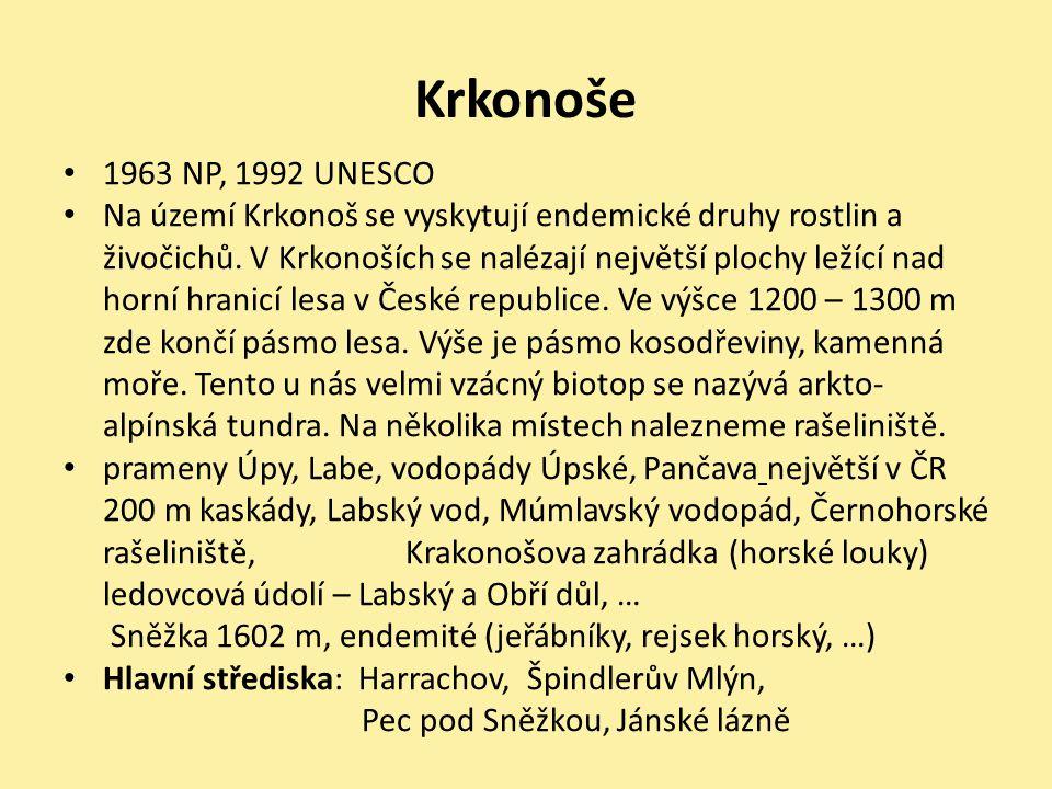 Krkonoše 1963 NP, 1992 UNESCO Na území Krkonoš se vyskytují endemické druhy rostlin a živočichů. V Krkonoších se nalézají největší plochy ležící nad h