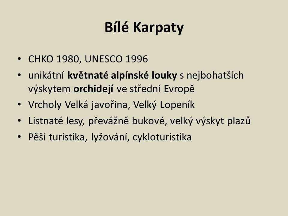 Bílé Karpaty CHKO 1980, UNESCO 1996 unikátní květnaté alpínské louky s nejbohatších výskytem orchidejí ve střední Evropě Vrcholy Velká javořina, Velký