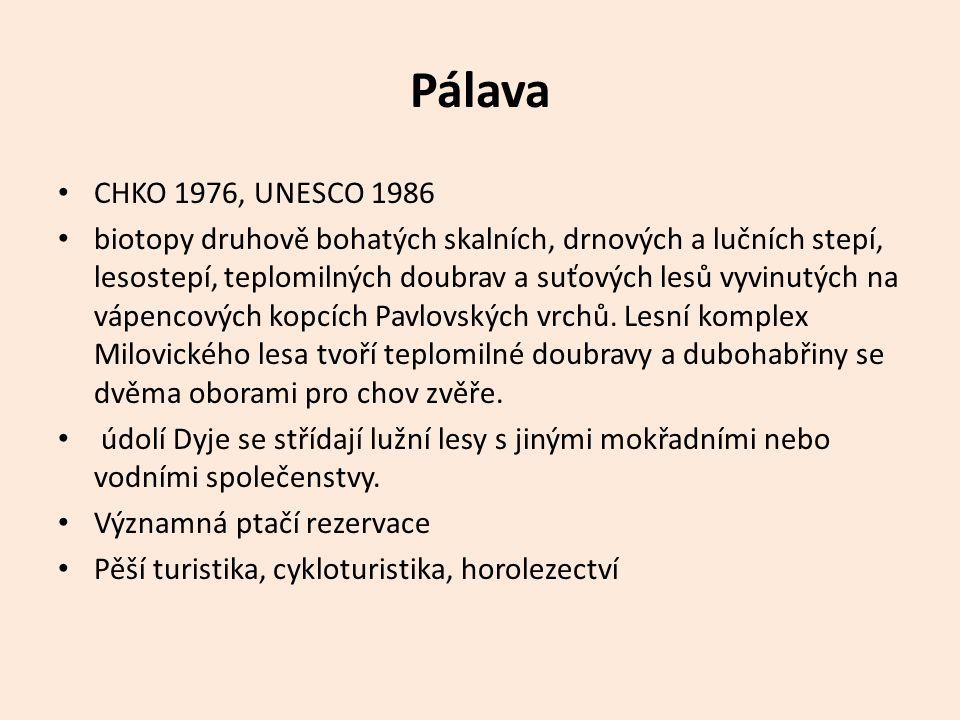 Pálava CHKO 1976, UNESCO 1986 biotopy druhově bohatých skalních, drnových a lučních stepí, lesostepí, teplomilných doubrav a suťových lesů vyvinutých