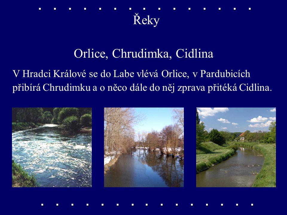 Řeky Labe, Úpa, Metuje V Krkonoších pramení řeky Labe a její přítok – Úpa. V Podkrkonoší do Labe přitéká zleva řeka Metuje.