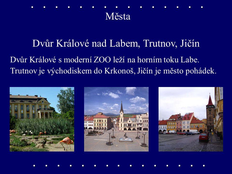 Města Hradec Králové, Pardubice Dvě největší města východních Čech, obě sídla krajů. Střediska strojírenství, chemie a elektrotechniky.