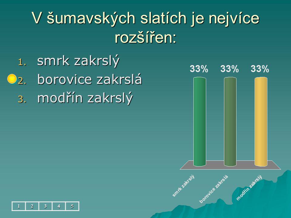 V šumavských slatích je nejvíce rozšířen: 12345 1.