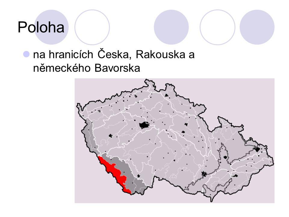 Poloha na hranicích Česka, Rakouska a německého Bavorska