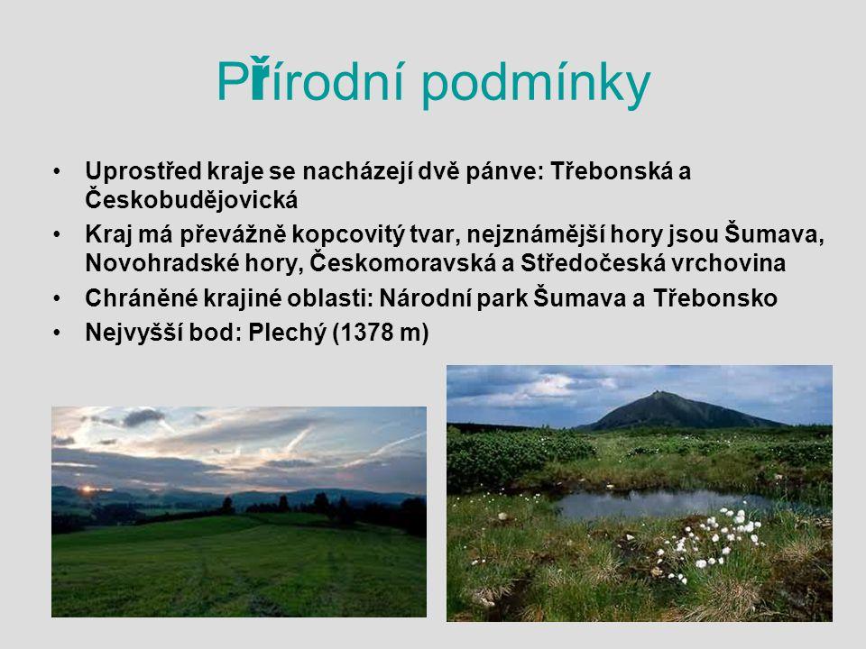 P ř írodní podmínky Uprostřed kraje se nacházejí dvě pánve: Třebonská a Českobudějovická Kraj má převážně kopcovitý tvar, nejznámější hory jsou Šumava