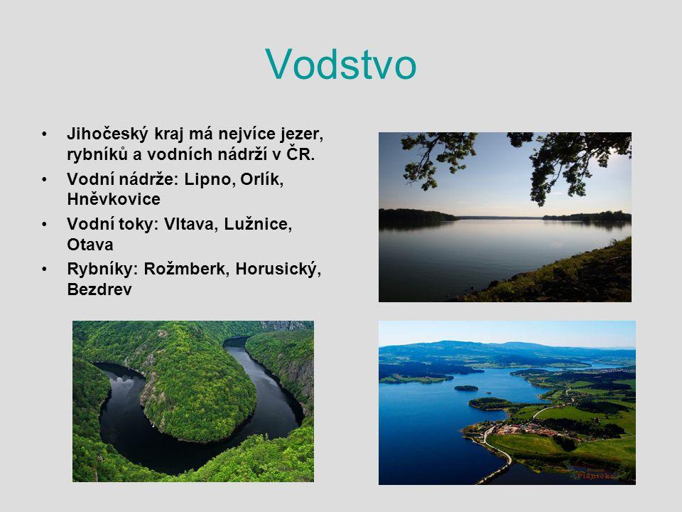 Vodstvo Jihočeský kraj má nejvíce jezer, rybníků a vodních nádrží v ČR. Vodní nádrže: Lipno, Orlík, Hněvkovice Vodní toky: Vltava, Lužnice, Otava Rybn