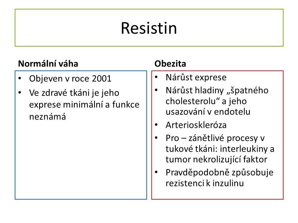 """Resistin Normální váha Objeven v roce 2001 Ve zdravé tkáni je jeho exprese minimální a funkce neznámá Obezita Nárůst exprese Nárůst hladiny """"špatného cholesterolu a jeho usazování v endotelu Arterioskleróza Pro – zánětlivé procesy v tukové tkáni: interleukiny a tumor nekrolizující faktor Pravděpodobně způsobuje rezistenci k inzulinu"""
