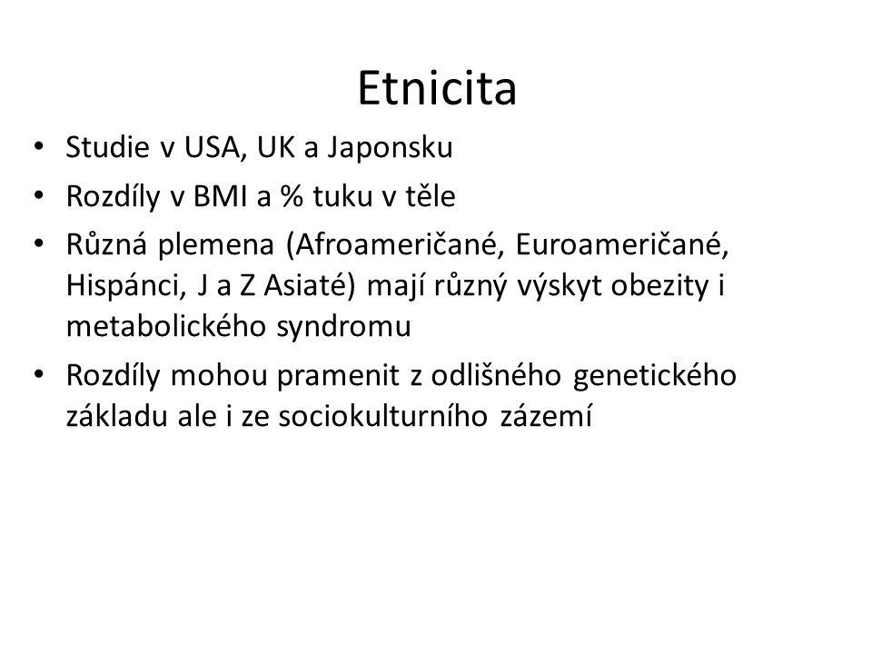Etnicita Studie v USA, UK a Japonsku Rozdíly v BMI a % tuku v těle Různá plemena (Afroameričané, Euroameričané, Hispánci, J a Z Asiaté) mají různý výskyt obezity i metabolického syndromu Rozdíly mohou pramenit z odlišného genetického základu ale i ze sociokulturního zázemí