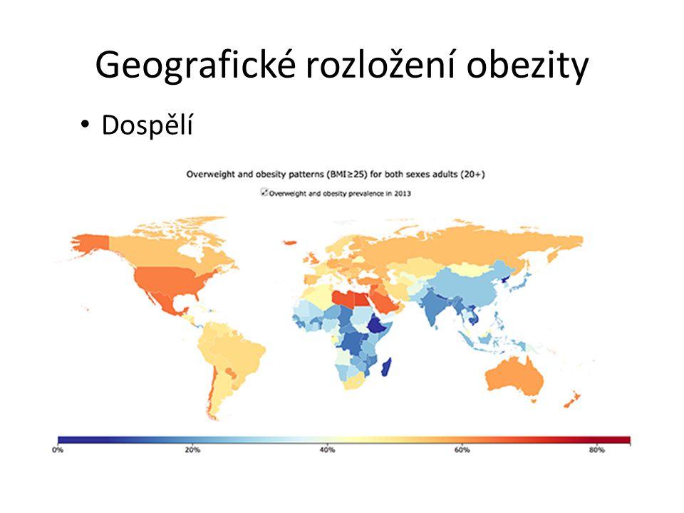 Geografické rozložení obezity Dospělí