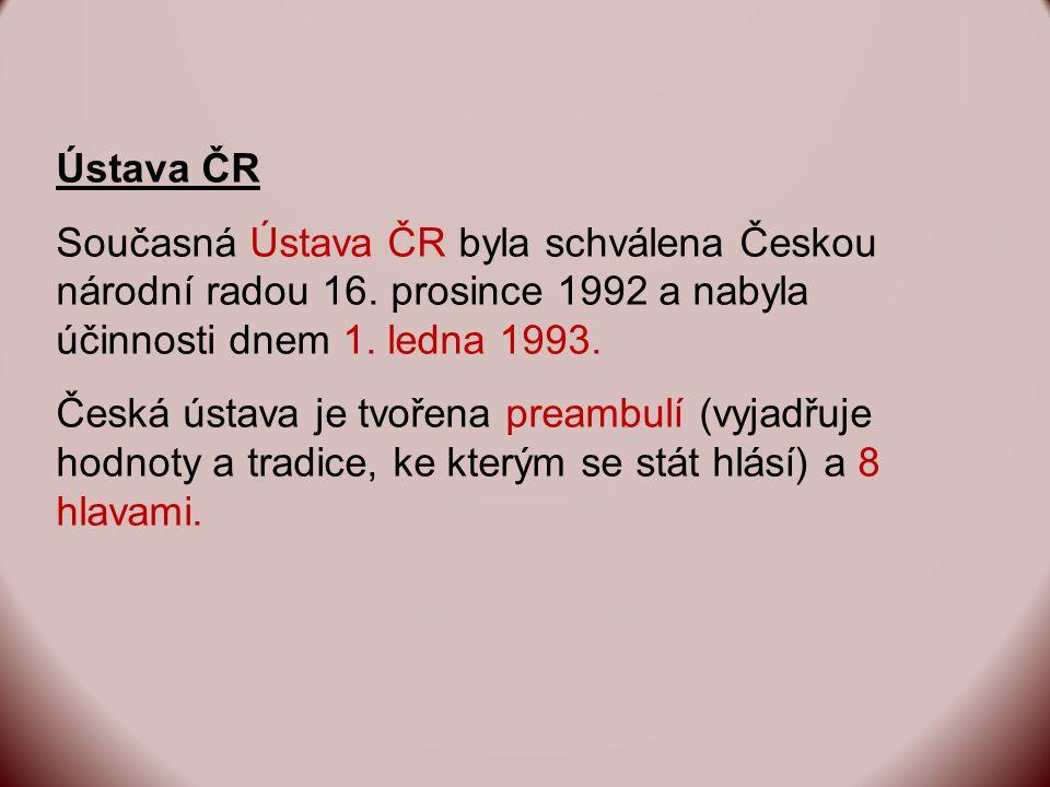 Ústava ČR Současná Ústava ČR byla schválena Českou národní radou 16.