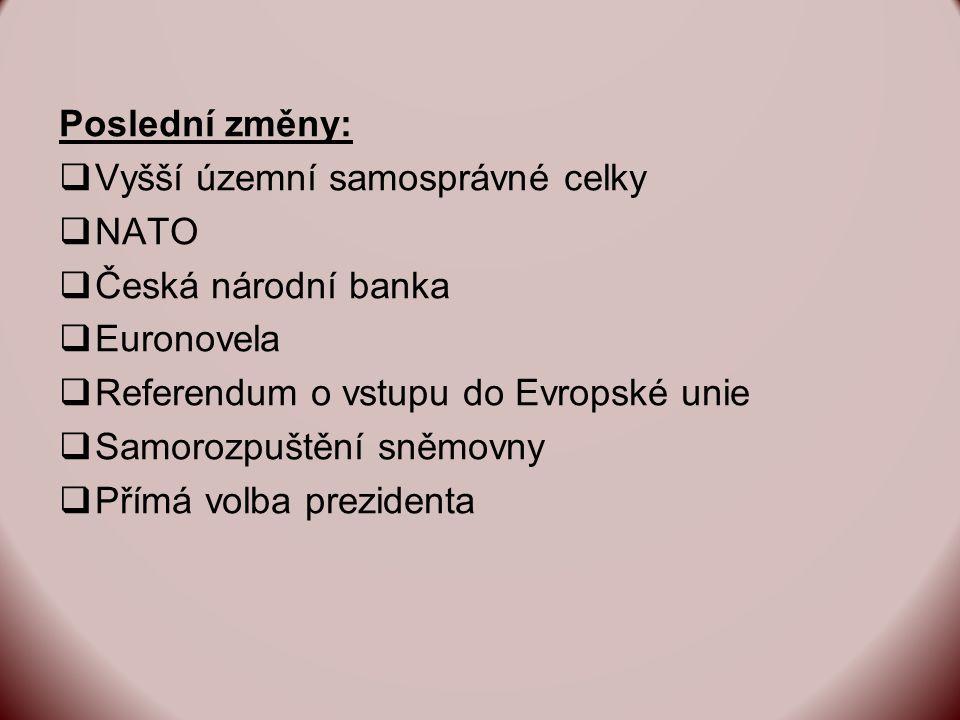 Poslední změny:  Vyšší územní samosprávné celky  NATO  Česká národní banka  Euronovela  Referendum o vstupu do Evropské unie  Samorozpuštění sněmovny  Přímá volba prezidenta