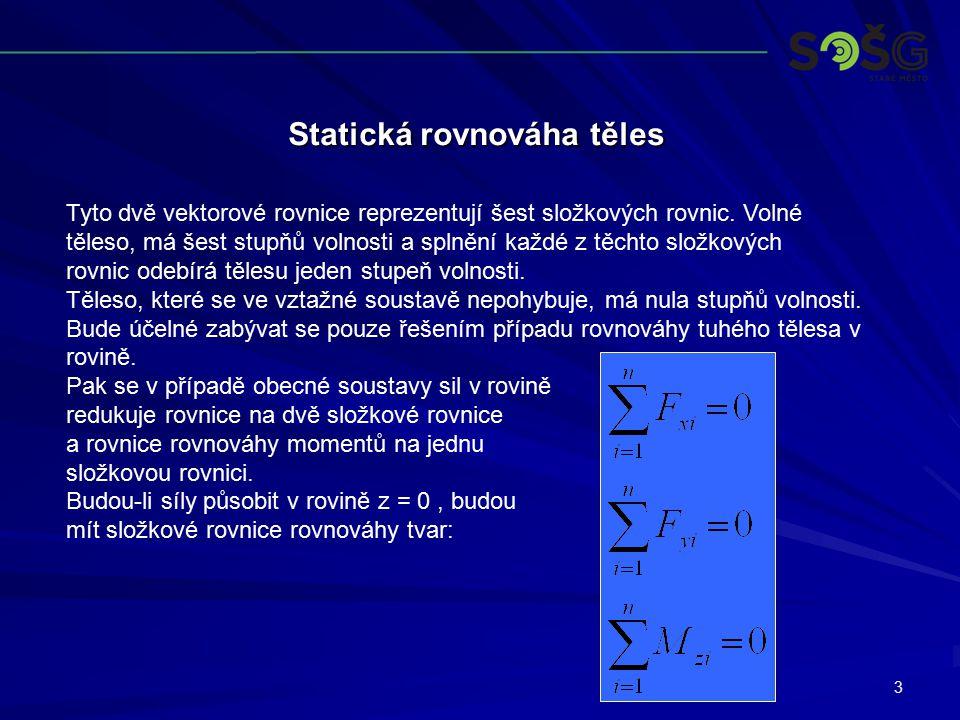 3 Statická rovnováha těles Tyto dvě vektorové rovnice reprezentují šest složkových rovnic. Volné těleso, má šest stupňů volnosti a splnění každé z těc