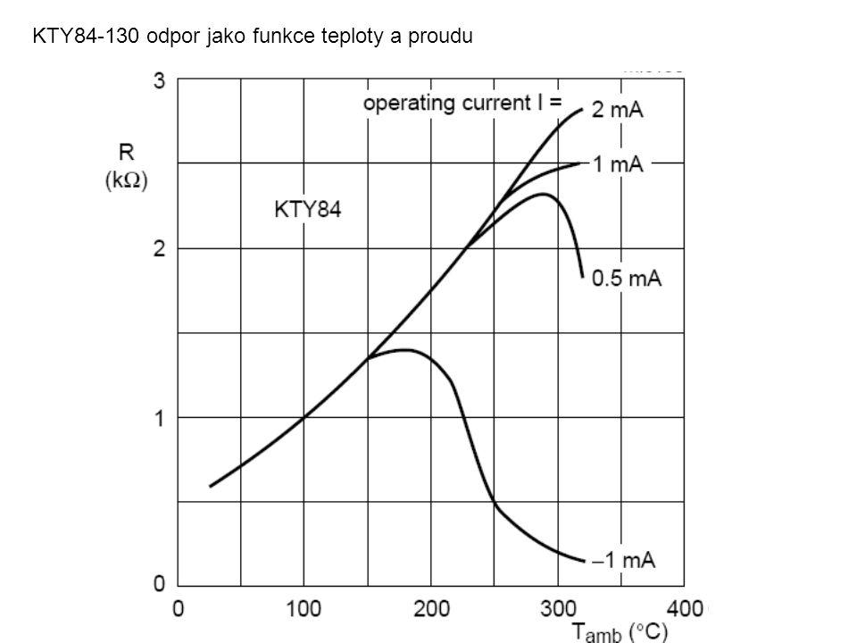 KTY84-130 odpor jako funkce teploty a proudu