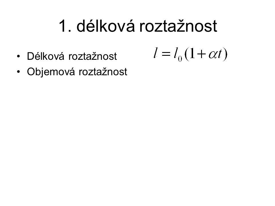 1. délková roztažnost Délková roztažnost Objemová roztažnost