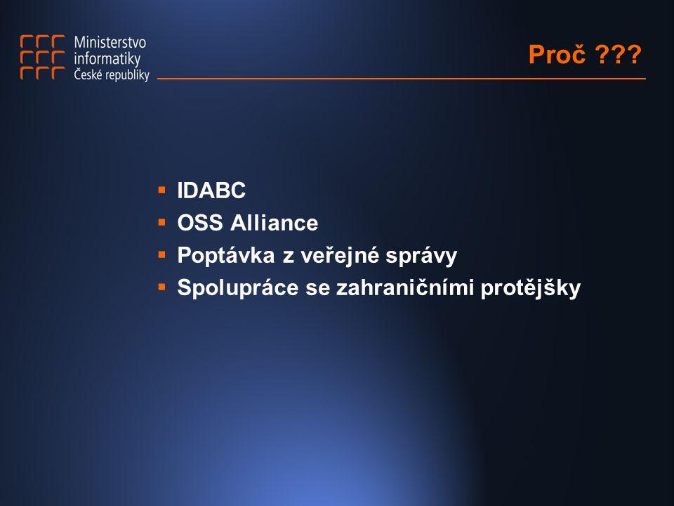 Proč ???  IDABC  OSS Alliance  Poptávka z veřejné správy  Spolupráce se zahraničními protějšky