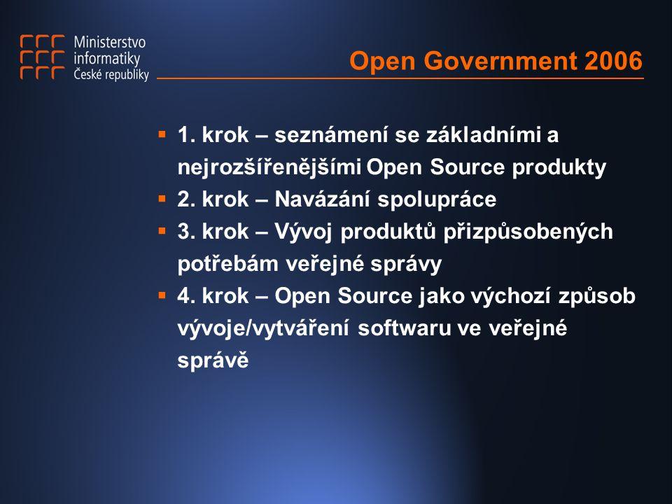 Open Government 2006  1. krok – seznámení se základními a nejrozšířenějšími Open Source produkty  2. krok – Navázání spolupráce  3. krok – Vývoj pr