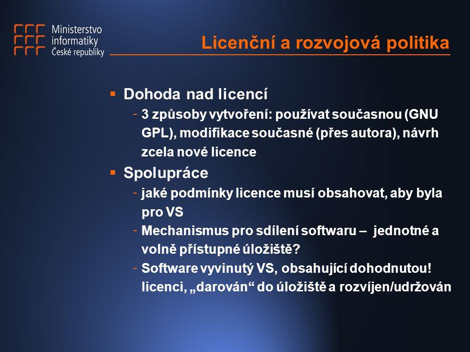 Licenční a rozvojová politika  Dohoda nad licencí - 3 způsoby vytvoření: používat současnou (GNU GPL), modifikace současné (přes autora), návrh zcela nové licence  Spolupráce - jaké podmínky licence musí obsahovat, aby byla pro VS - Mechanismus pro sdílení softwaru – jednotné a volně přístupné úložiště.