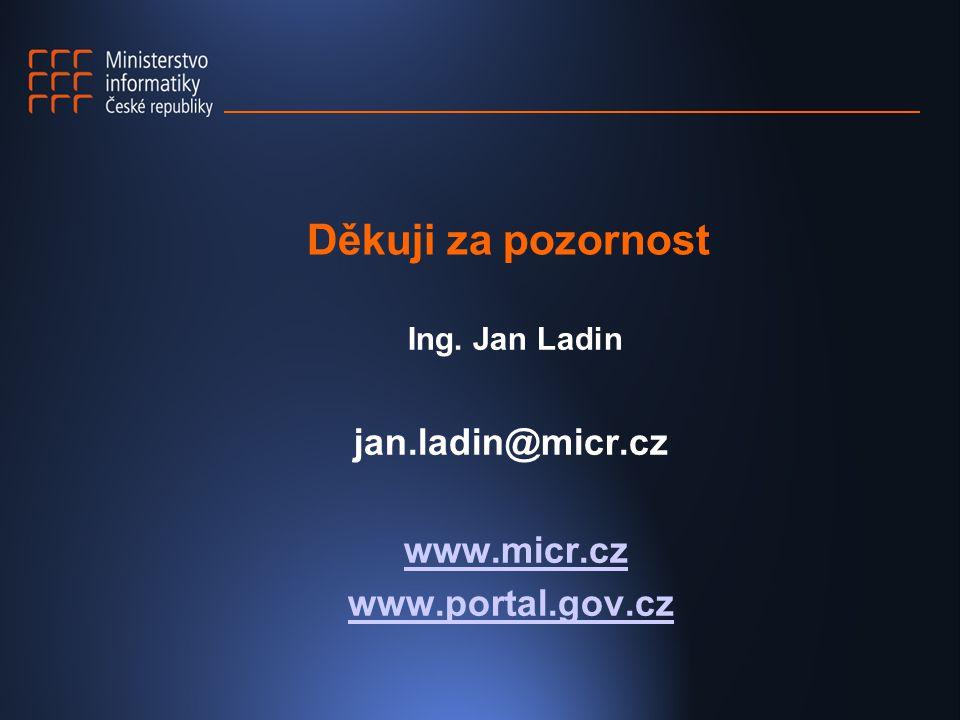 Děkuji za pozornost Ing. Jan Ladin jan.ladin@micr.cz www.micr.cz www.portal.gov.cz