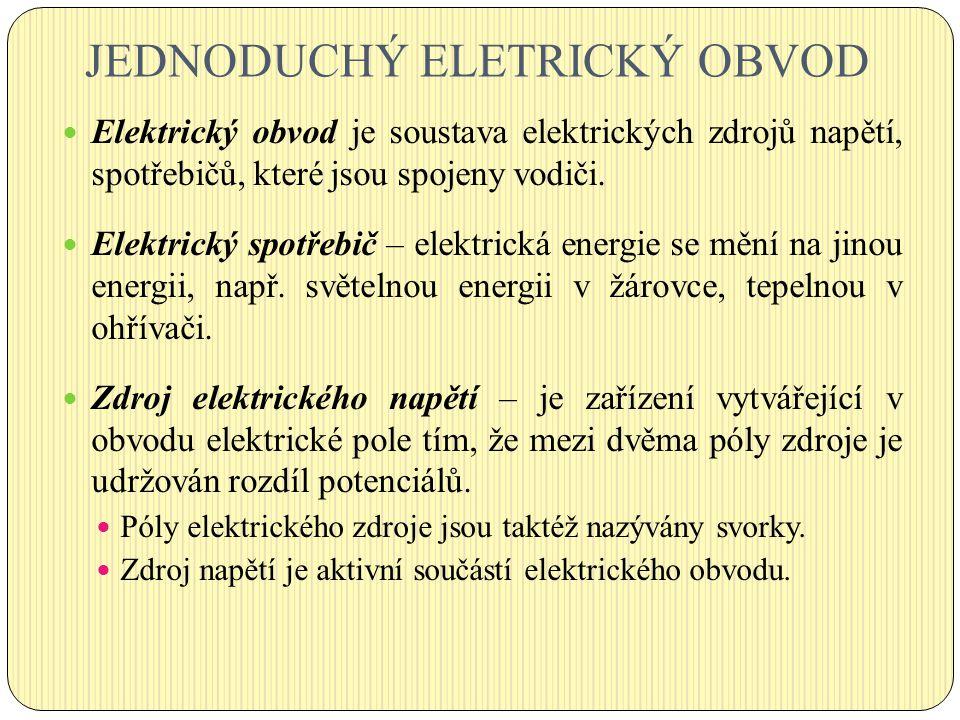 JEDNODUCHÝ ELETRICKÝ OBVOD Elektrický obvod je soustava elektrických zdrojů napětí, spotřebičů, které jsou spojeny vodiči. Elektrický spotřebič – elek