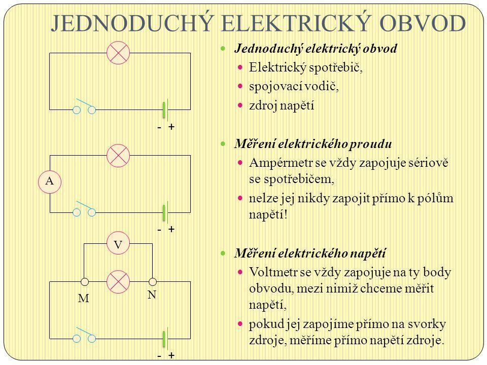JEDNODUCHÝ ELEKTRICKÝ OBVOD Jednoduchý elektrický obvod Elektrický spotřebič, spojovací vodič, zdroj napětí Měření elektrického proudu Ampérmetr se vž