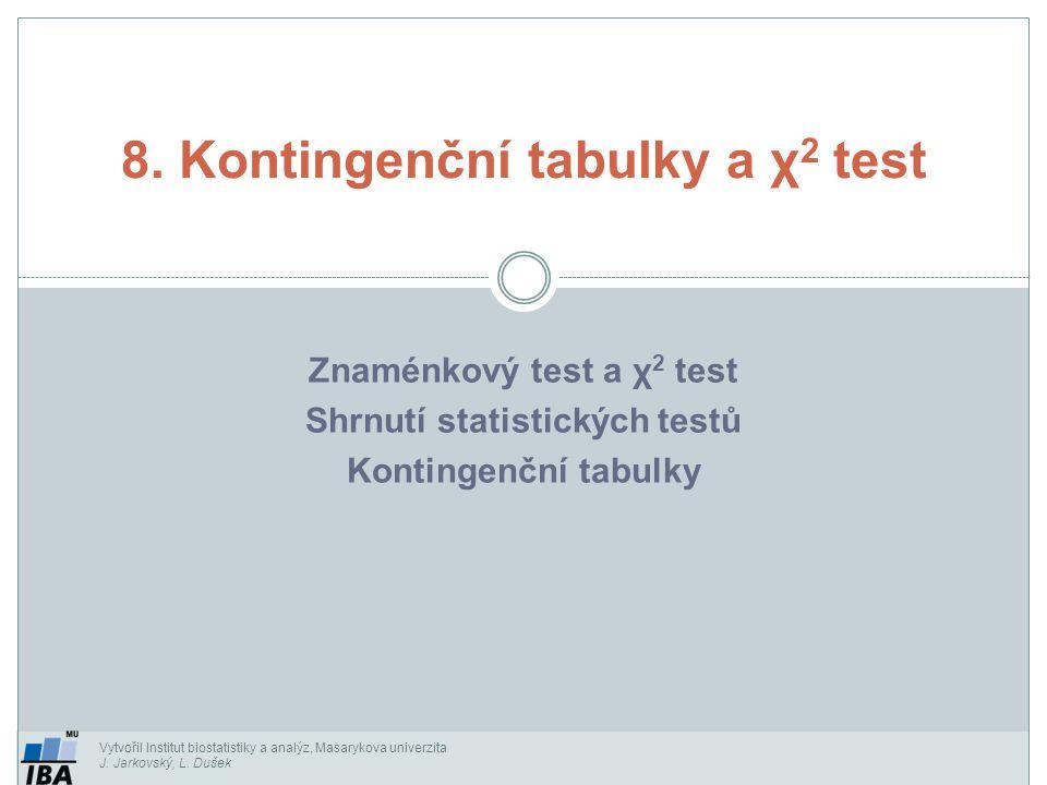 Vytvořil Institut biostatistiky a analýz, Masarykova univerzita J. Jarkovský, L. Dušek Znaménkový test a χ 2 test Shrnutí statistických testů Kontinge