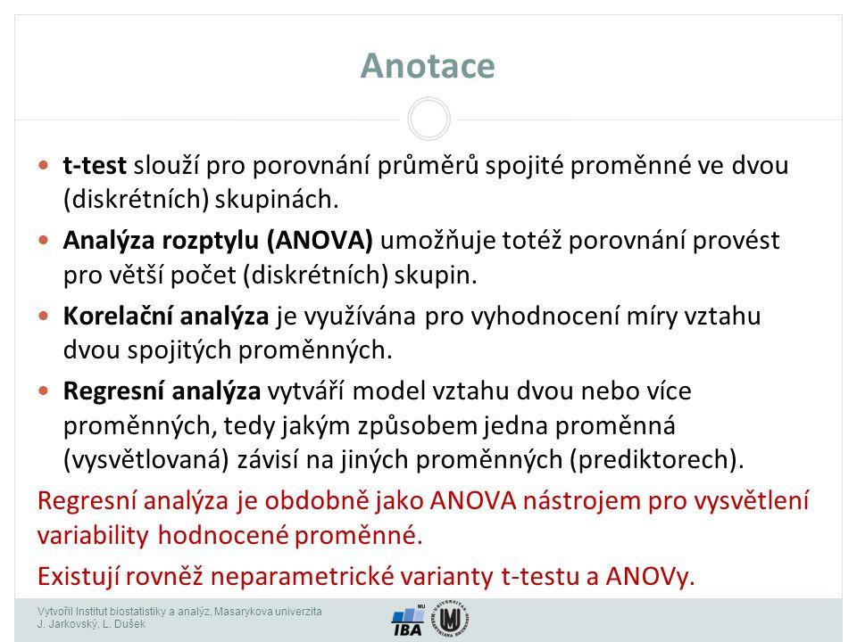 Vytvořil Institut biostatistiky a analýz, Masarykova univerzita J. Jarkovský, L. Dušek Anotace t-test slouží pro porovnání průměrů spojité proměnné ve
