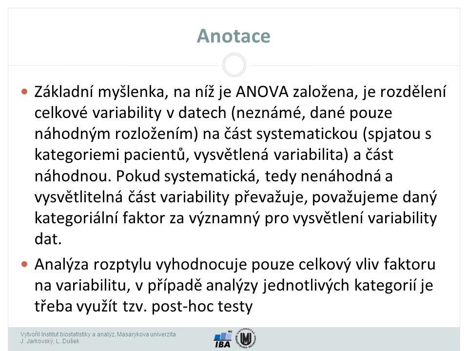 Vytvořil Institut biostatistiky a analýz, Masarykova univerzita J. Jarkovský, L. Dušek Anotace Základní myšlenka, na níž je ANOVA založena, je rozděle