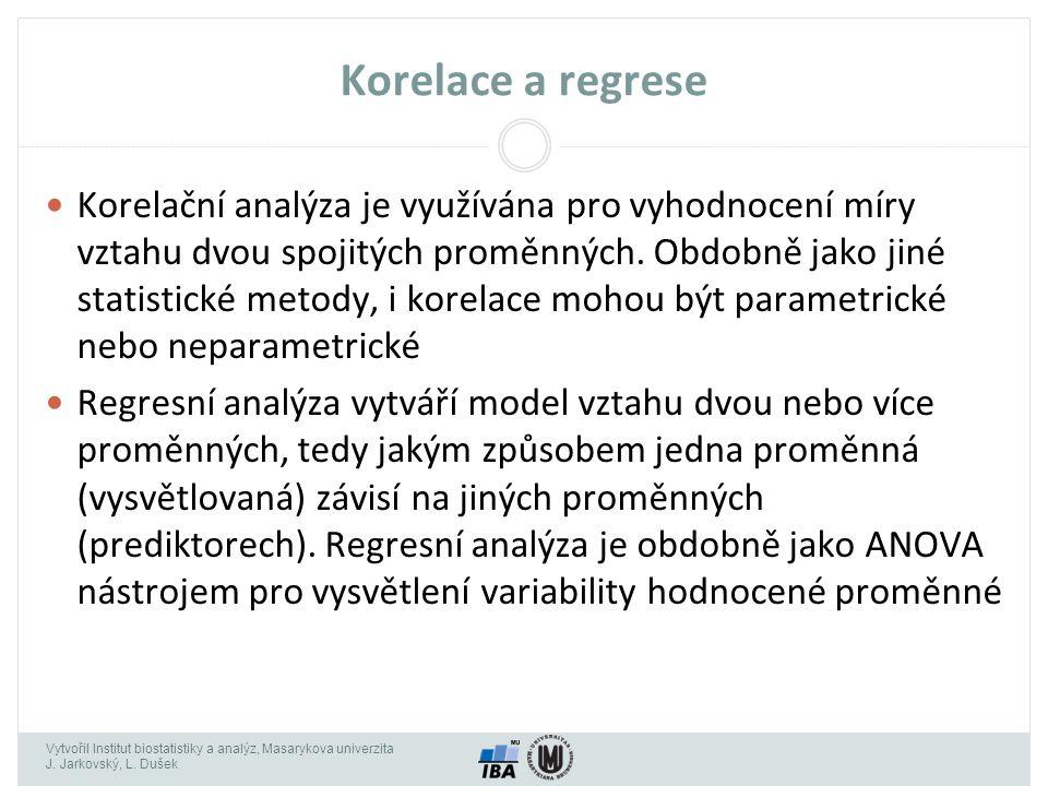 Vytvořil Institut biostatistiky a analýz, Masarykova univerzita J. Jarkovský, L. Dušek Korelace a regrese Korelační analýza je využívána pro vyhodnoce
